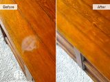 Heat water mark stain removal refinishing wood